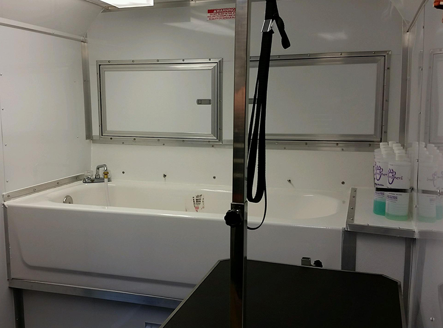 Dog grooming trailer-shop area