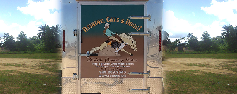 Large banner on dog grooming truck