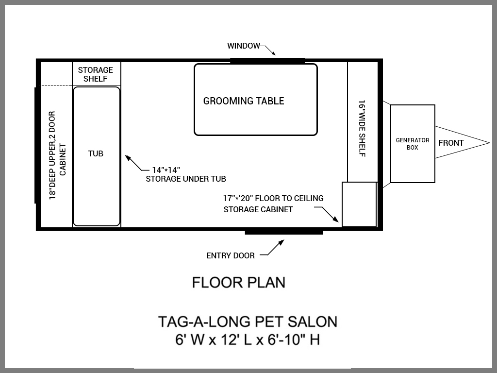 Floor plans mobile grooming trailers salons mobile dog for Salon layout plans