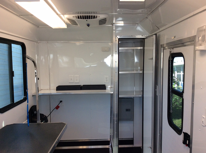 Inside Of Dog Grooming Trailer